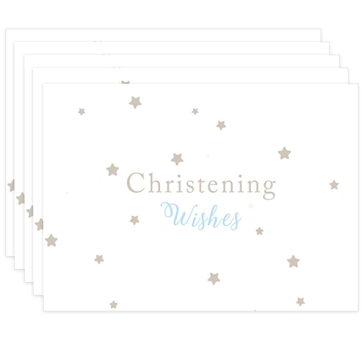 Blue Christening Guest Book Styled Wishes Cards for 16 Guests Beautiful Keepsake Memory Cards with Pouch Free UK Delivery