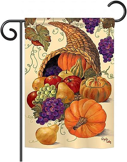 Amazon Com Breeze Decor G163041 Cornucopia Fall Harvest Autumn Impressions Decorative Vertical Garden Flag 13 X 18 5 Printed In Usa Multi Color Garden Outdoor