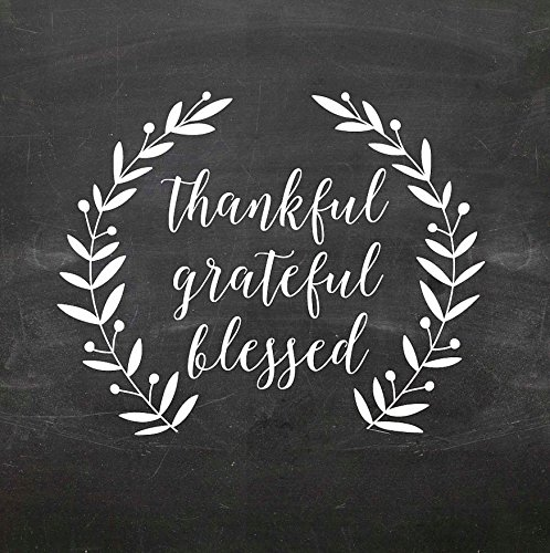 Pikoilko Chalkboard Thankful Grateful Blessed Wreath Removable Vinyl Monogrammed Wall Stickers Decals For Bedroom Art Mural Home Decorative Gifts 8