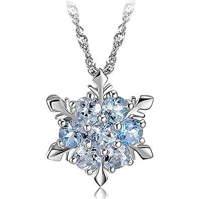 Silber halskette  Frozen Sterling Silber blauen Kristall Blau gefrorene Schneeflocke ...