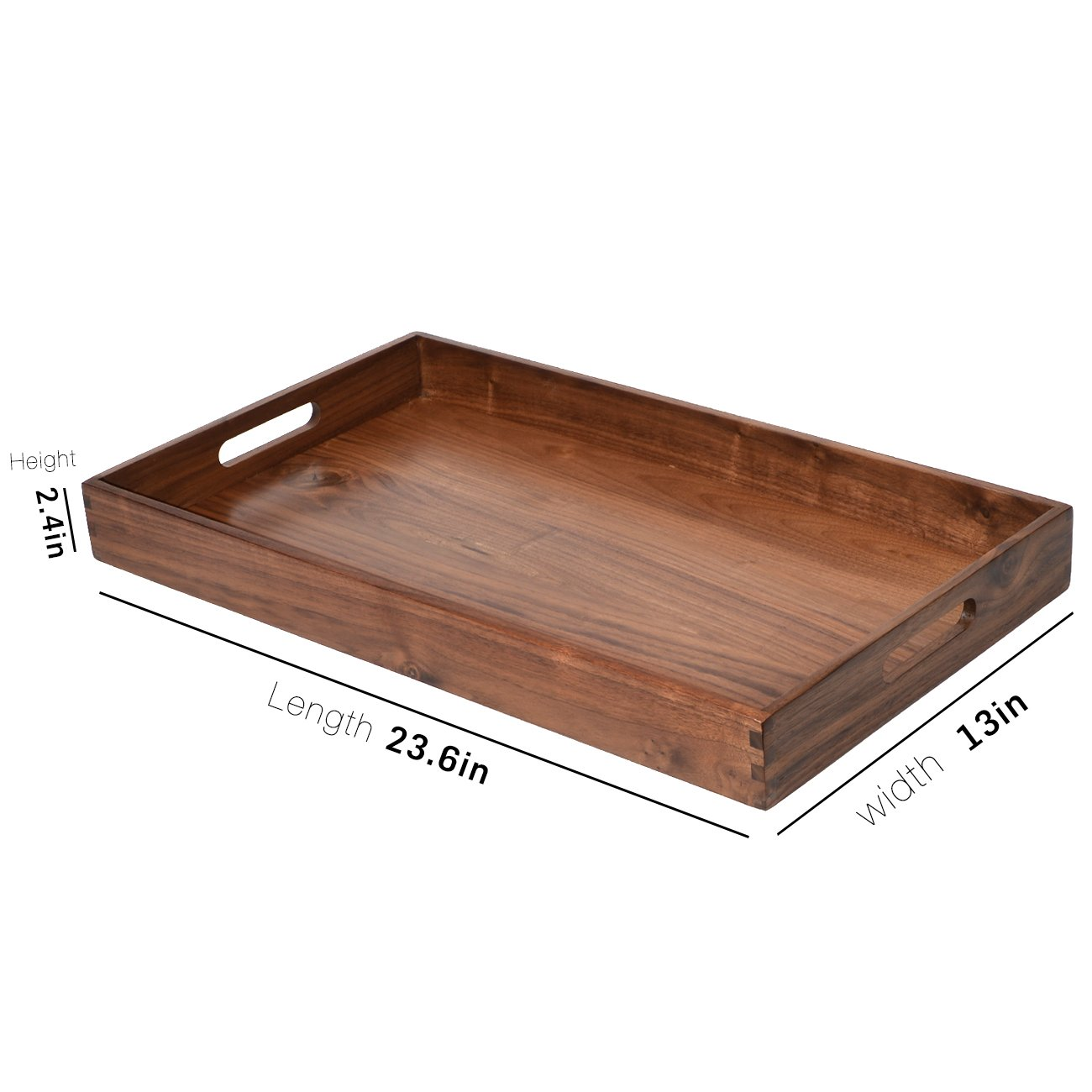 Kingcraft 24x13 Extra Large Wooden Tray Ottoman Tray With Handle Fsc Natural Handmade Black Walnut Serving Tray Vintage Decorative Platters For