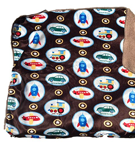 Baby Blankets For Boys, Warm and Cozy, Extra Soft Micro Plush Fleece Blanket, Anti-Pilling, Sherpa Backing (Transportation on Brown Background) (Polar Blanket Baby Fleece)