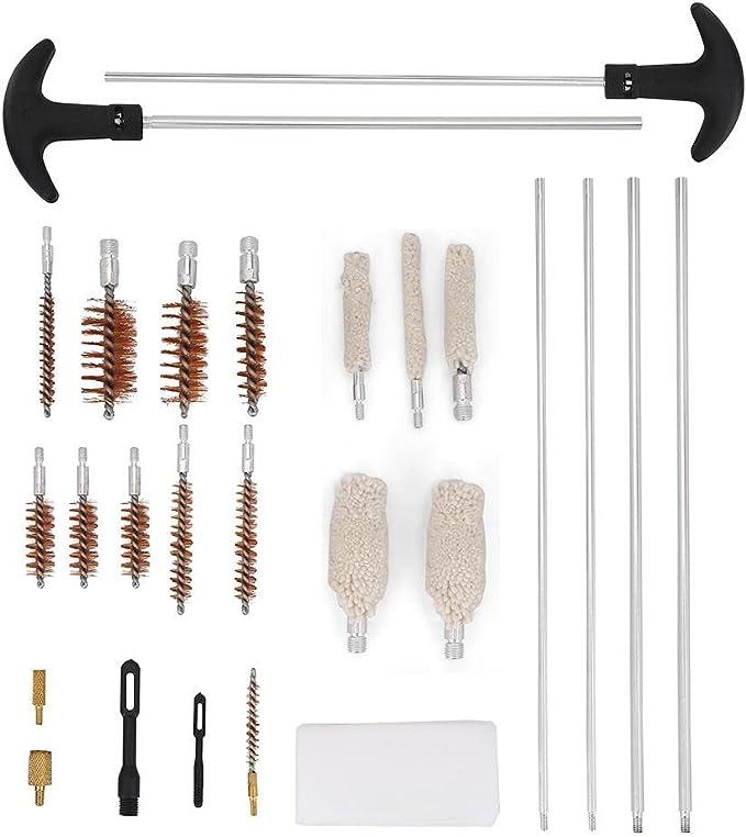 Kit limpieza universal pistola, Limpio herramienta de mantenimiento para la limpieza de la pistola y arma Incluye 28/unidades con la caja de aluminio