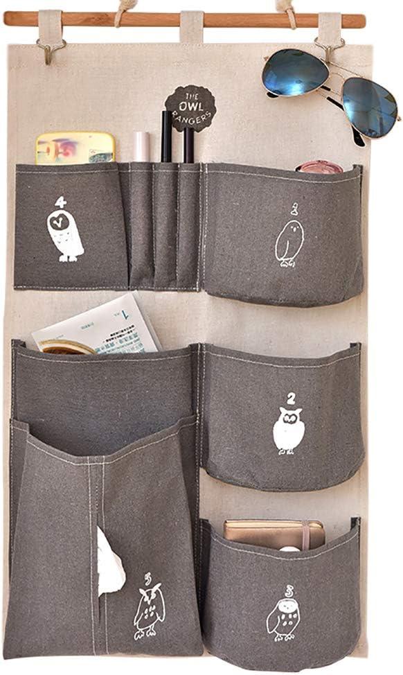 cuarto de ba/ño con bolsillo de tela de lino para habitaci/ón gris//verde para colgar en la puerta Bolsa de almacenamiento para colgar en la pared cocina de algod/ón