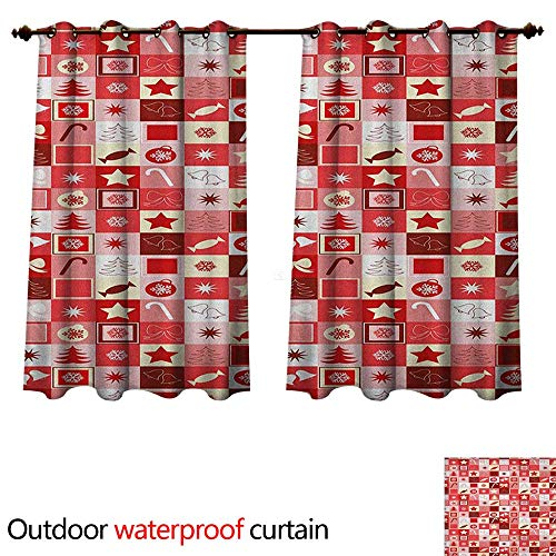 Christmas Outdoor Curtains for Patio Sheer Xmas Icons Candy Cones Stars Ribbons Hand Bells Pines Ornaments in Boxes W96 x L72(245cm x 183cm)