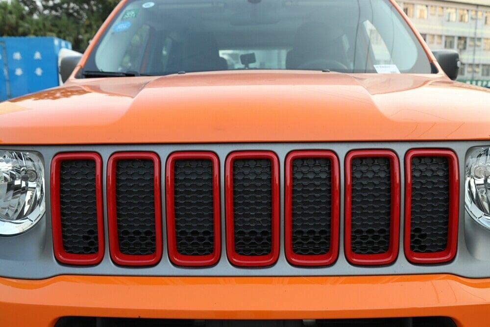 RT-TCZ Front Grill Grille Inserts for Jeep Renegade 2019 2020 ABS Grill Guard Cover Trim Red 7PCs