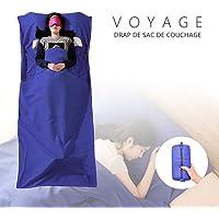 Chenci Drap de Sac De Couchage, Sac De Couchage Doublure, Microfibres Sac De Couchage Idéal pour Auberges Refuges Voyage Hôtel Camping 210 * 115CM, Bleu