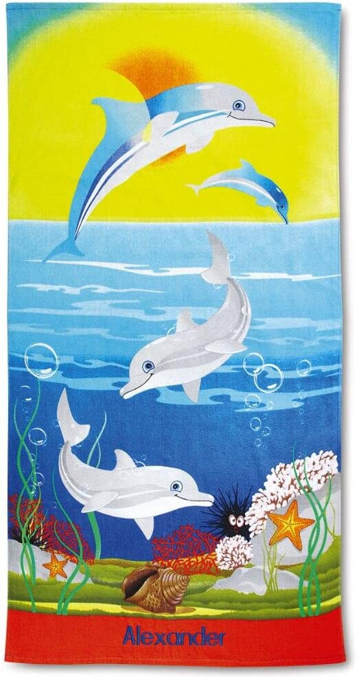 Lillian Vernon Kids Personalized Dolphins Jumbo Cotton Beach Towel, 100% Cotton