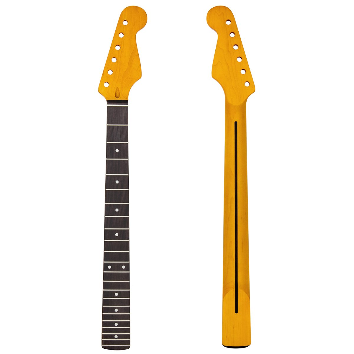 Kmise Electric Guitar Neck Yellow 22 Frets Maple Rosewood Fingerboard Parts Replacement
