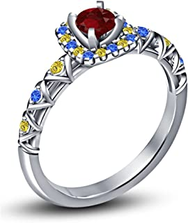 Lilu Jewels Solitaire With Accents 925 Silver Platinum Plated Princess Belle Ring With Multiple Gemstones