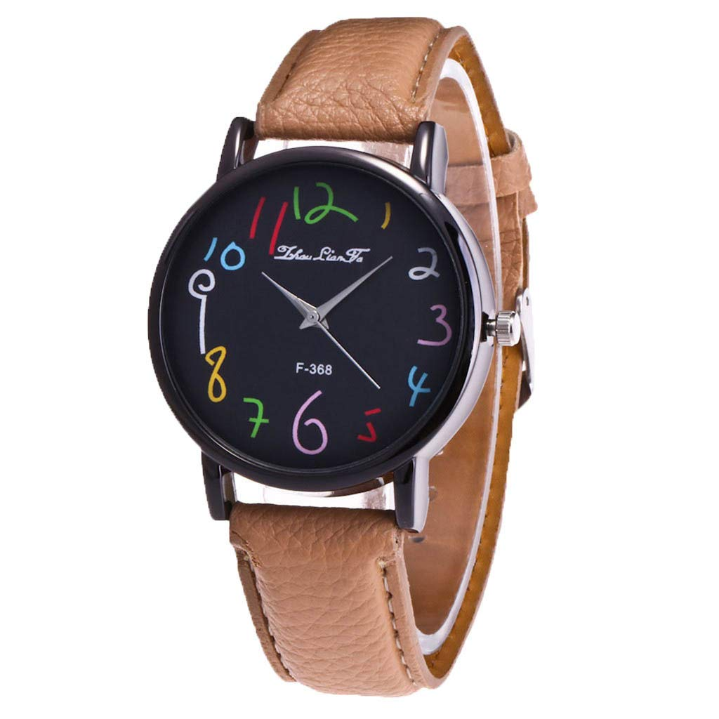 Ladies Watch WoCoo Fashion Analog Quartz Cartoon Pointer Dial Wrist Watch with Leather Strap Watches Gifts (Beige)