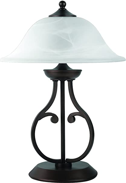 Captivating Coaster Transitional Dark Bronze Table Lamp With Glass Shade