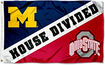 Amazon Com College Flags Banners Co Michigan Vs Ohio State House Divided 3x5 Flag Sports Outdoors