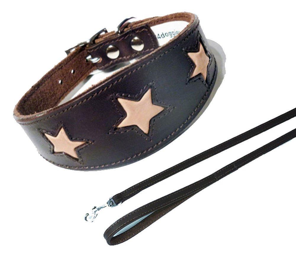 Star Lot de 3tailles Laisse, collier rembourré et revers en daim beige avec Marron Lévrier Greyhound Collier pour chien 4doggies