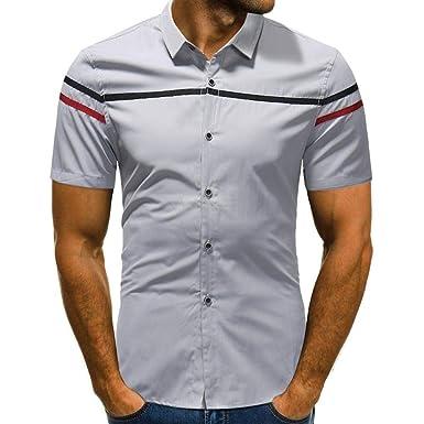 Camisa De Hombre Summer Fitness Camiseta A Rayas Mode De De Color ...