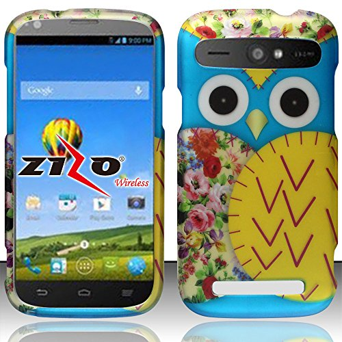 Baby Blue and Yellow Owl Design Shield Snap-On Cover Case + Atom LED Keychain Light for ZTE Warp Sync N9515