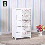 Homejoys Bedroom Storage Dresser Chest 5 Drawers w/Wicker Baskets Cabinet Wood & 5 Drawers 5 baskets Storage Dresser Chest Cabinet Wood Bedroom Furniture & Bedroom Storage Dresser 5 Drawers with Wick