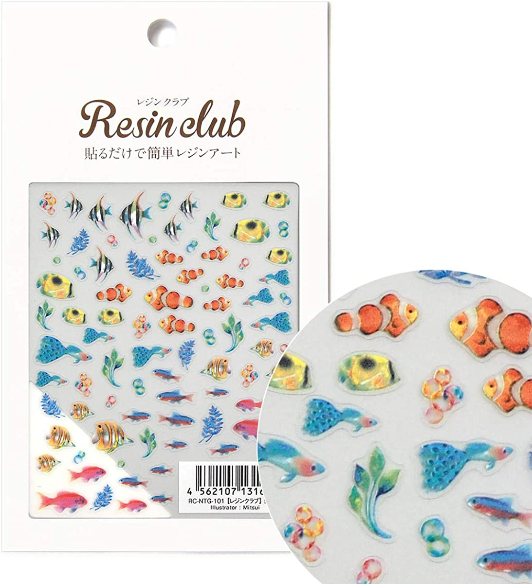 Resin club Tropical Fish (printed on both sides) stickers resin jewelry pendant earrings