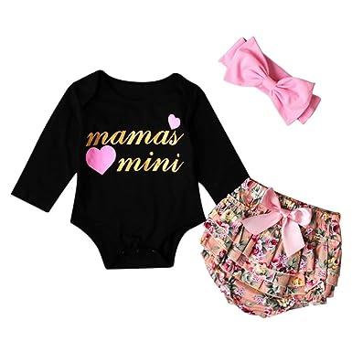 16007104a0f6da Babykleidung Mädchen Neugeborene Kleidung Longra Baby Langarm Strampler Baby  Mädchen Schwarz Letter T-Shirt Bodys