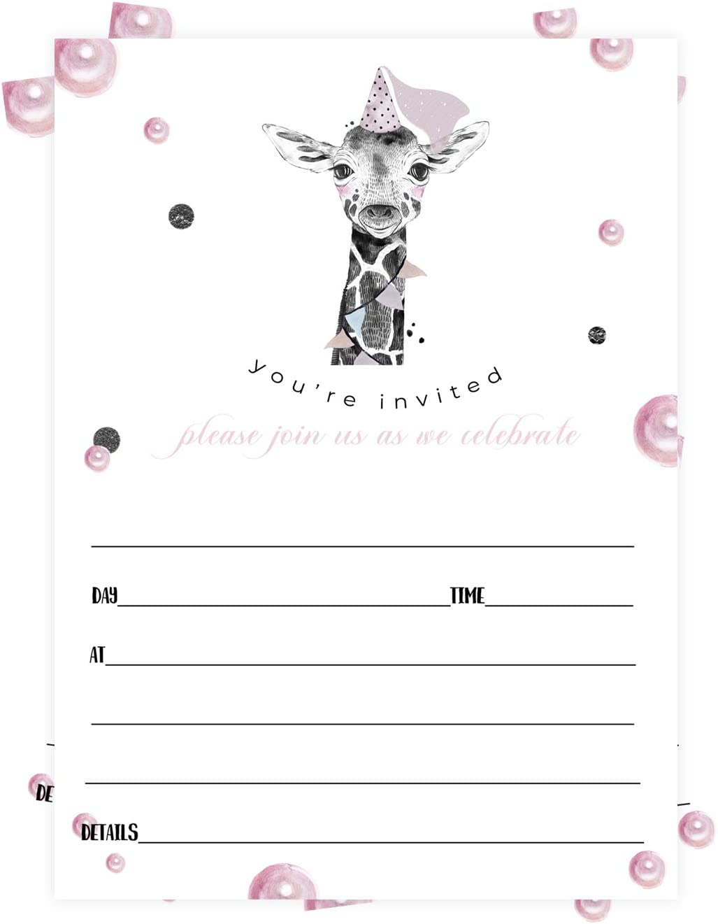 Pink Giraffe Party Invitations (25 Cards) Girls Birthday – Cute Little Safari Animal Ideas – Children, Toddlers, Teen - Fill-In Blank Style Invites and Envelope Pack
