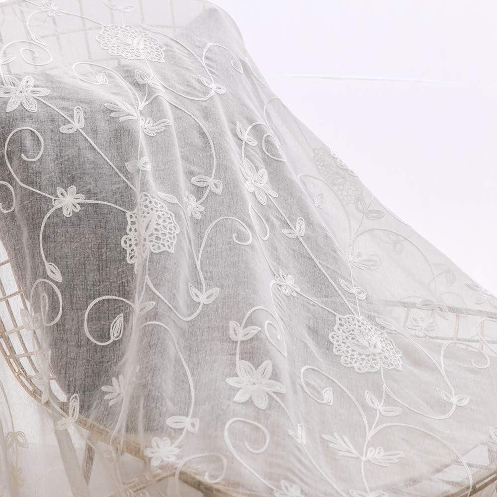 MIULEE Lot de 2 Voilages /à Oeillet Moustiquaire Broderie Decoration en Polyester Motifs de Fleur Voile Rideaux de Fen/être D/écoratives pour Salon Chambre Bureau Marron 175 X 140cm H x L