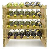 Sorbus Stackable Bamboo Wine Rack- Classic Style Wine Racks for Bottles- Perfect for Bar, Wine Cellar, Basement, Cabinet, Pantry, etc.Holds 24 Bottles (4-Tier, Natural)