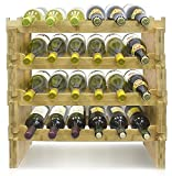Sorbus 4-Tier Stackable Bamboo Wine Rack— Classic Style Wine Racks for Bottles— Perfect for Bar, Wine Cellar, Basement, Cabinet, Pantry, etc.— Holds 24 Bottles (4-Tier, Natural)