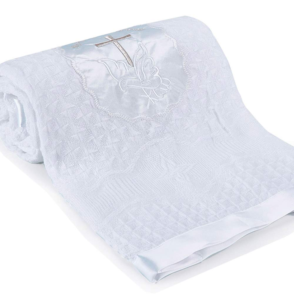 Baby Blanket Newborn Unisex Baptism White Baby Blanket Shawl Knitted Baby Summer Autumn Winter Blanket with Embroidered Cross by Booulfi