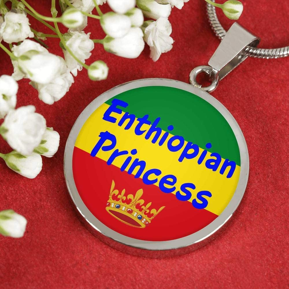 Express Your Love Gifts Enthiopian Princess Circle Pendant Necklace Stainless Steel or 18k Gold 18-22