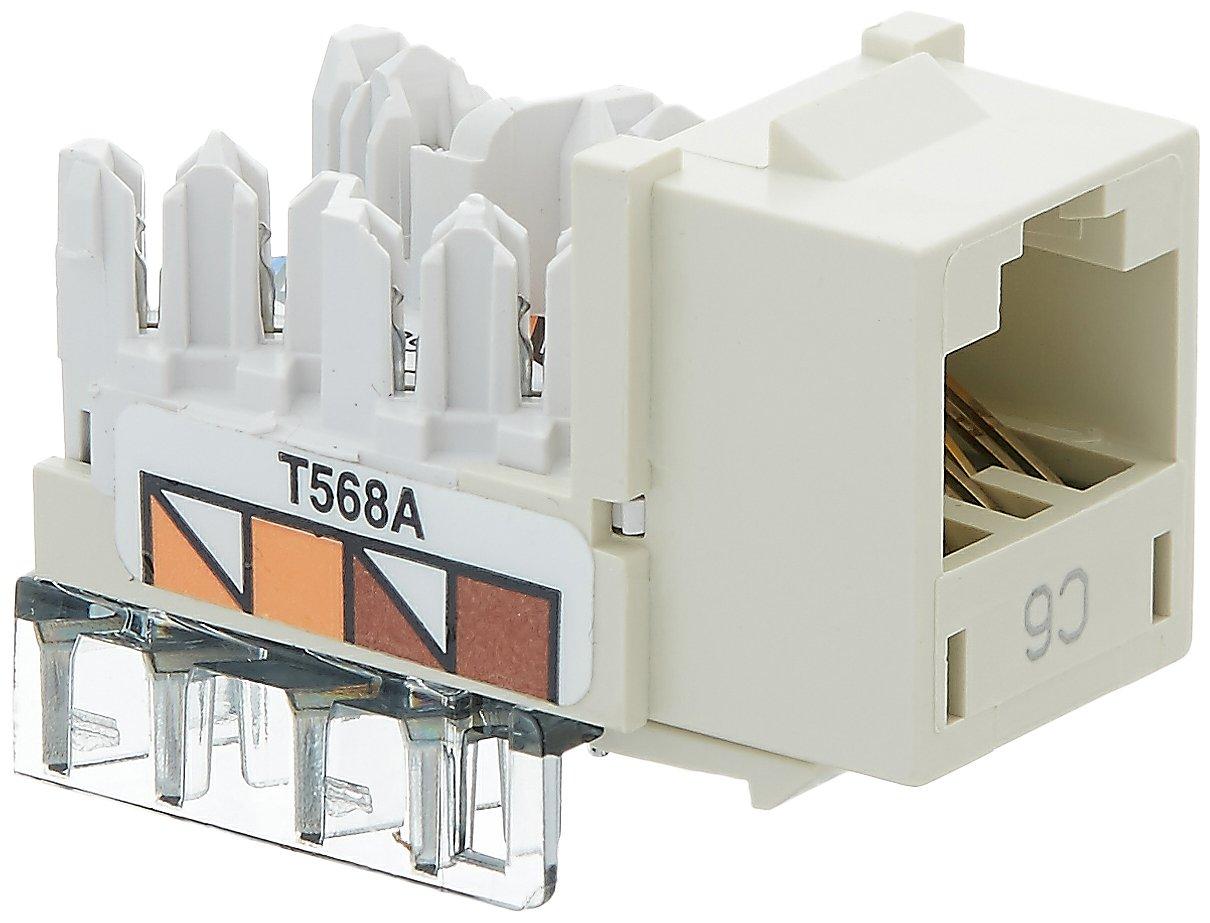 Pack of 25 CAT6 8 Position Black Hubbell HXJ6BK25 XCELERATOR Series RJ Jack Universal 586A//B Wiring