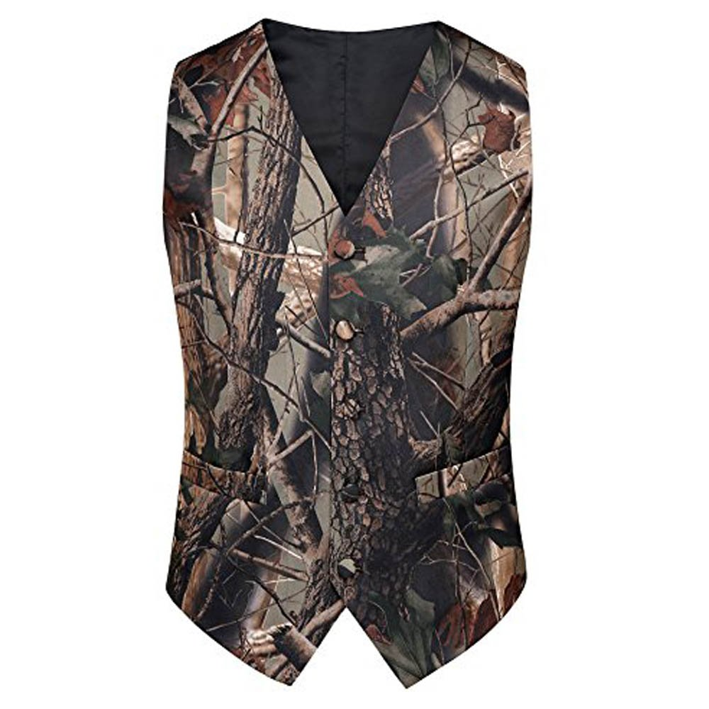 Tailorsun Mens Slim Fit Big Tree Camo Camouflage Vest Prom Wedding Vest (M Chest:38-40 inches)