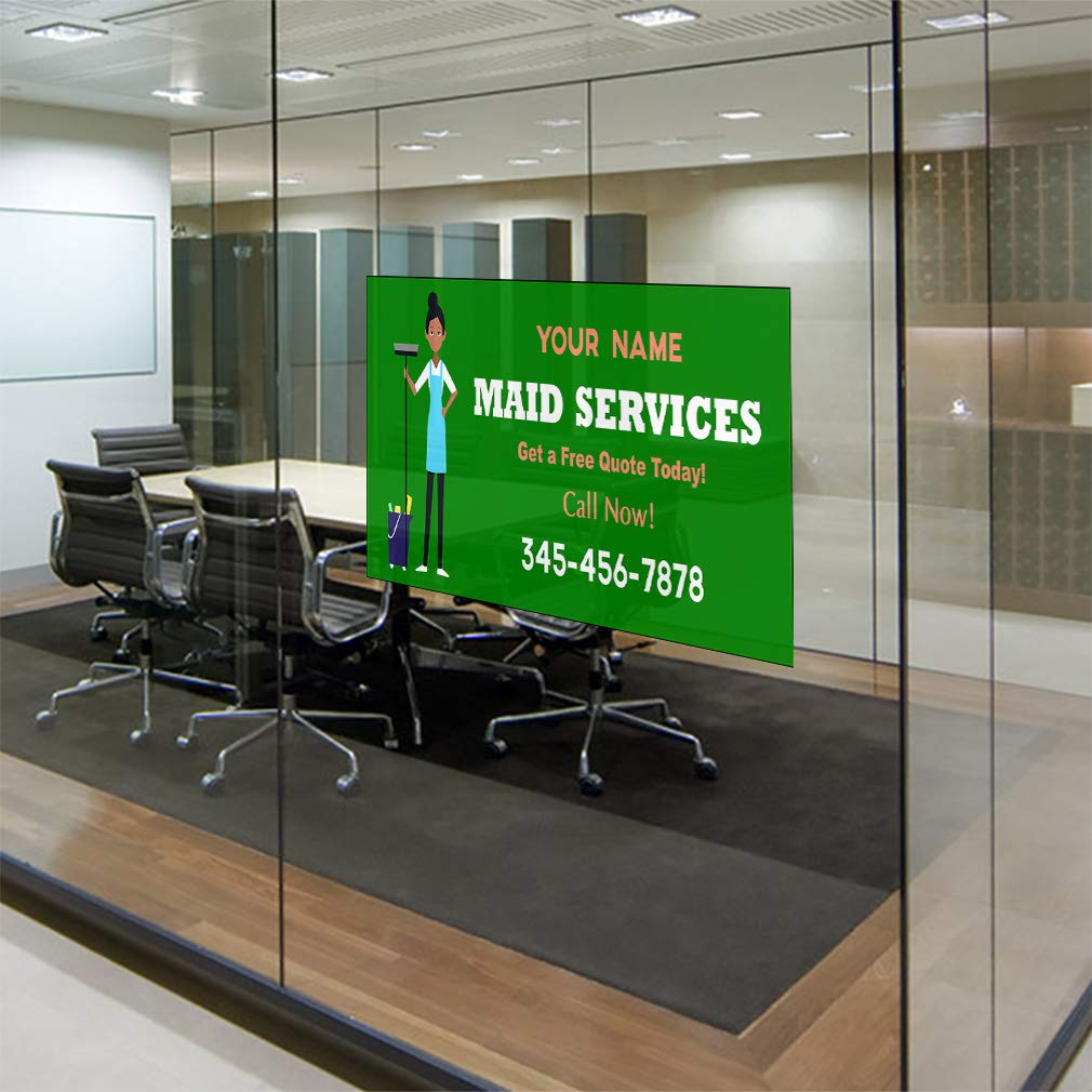 Custom Door Decals Vinyl Stickers Multiple Sizes Maid Service Phone Number Green Business Maid Services Outdoor Luggage /& Bumper Stickers for Cars Green 27X18Inches Set of 10