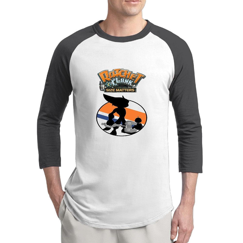 Ratchet & Clank Silhouette Mens Style 100% Cotton 3/4 Sleeve Athletic Baseball Raglan Sleeves T-Shirt