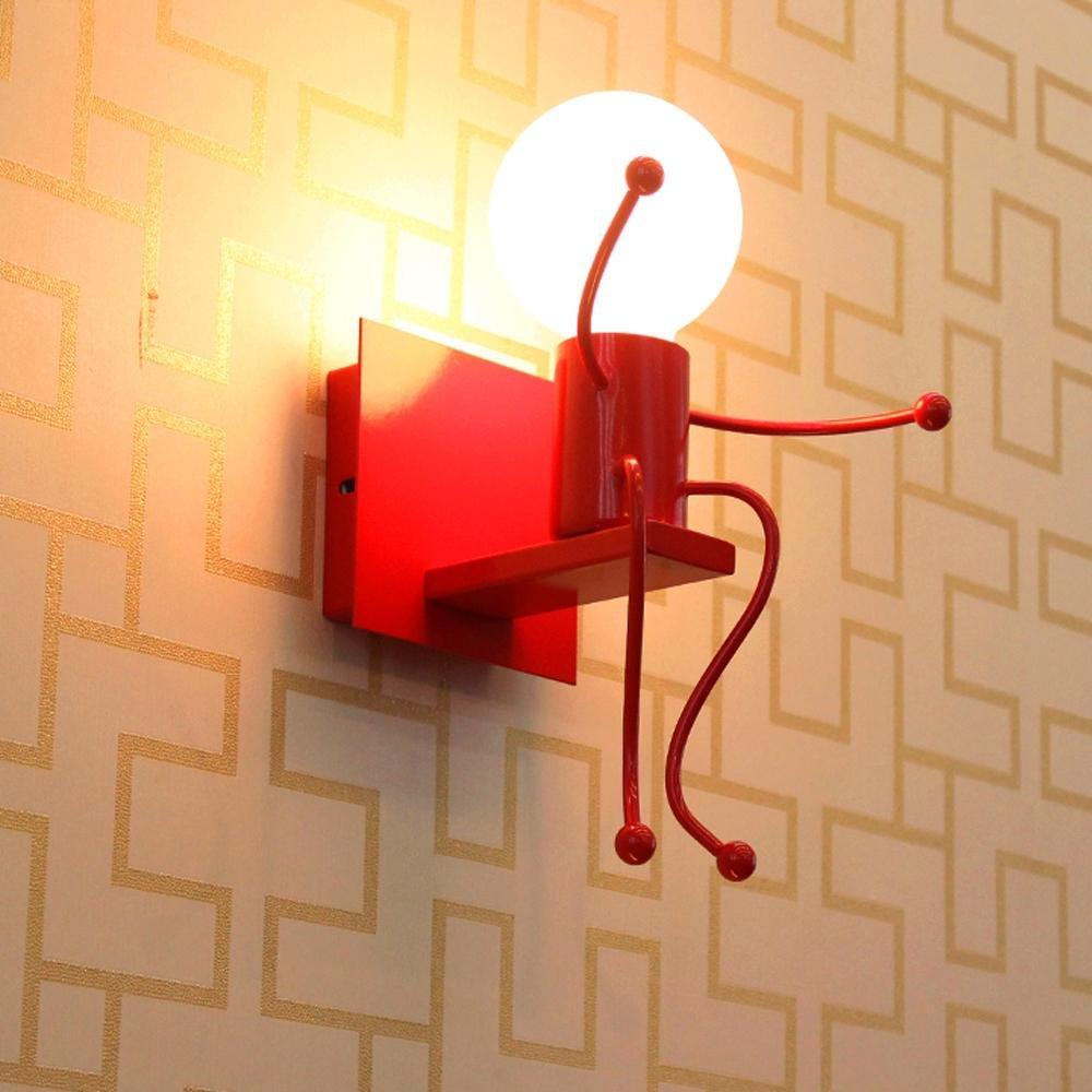 Applique Murale Créatrice et épurée pour salon, chambre à coucher, couloir, chambre d'enfant – 1 ampoule, Moderne Blanc Fer Design de caractère lumière de mur Lumière nocturne [Classe énergétique A+] lanting