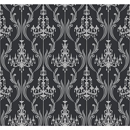 YORK AB2169 Black and White Damask Stripe Wallpaper, Matt...