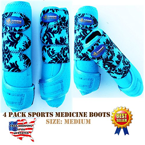 Professional Equine Horse Medium 4 Pack Sports Medicine Splint Boots 4131C