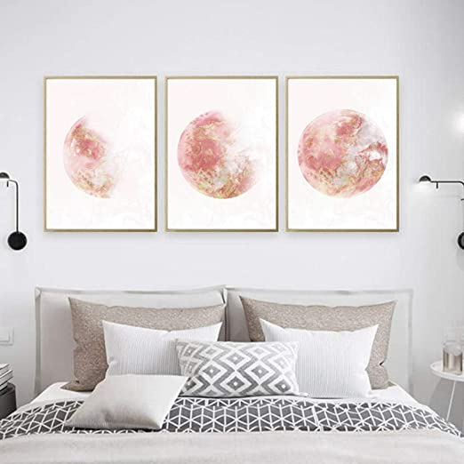 Amazon Com Xtszlfj Moon Phase Art Canvas Painting Rose Gold Print Large Gallery Modern Wall Art Bedroom Wall Posters Decor Decoration Pictures 50x70cmx3pcs No Frame Posters Prints