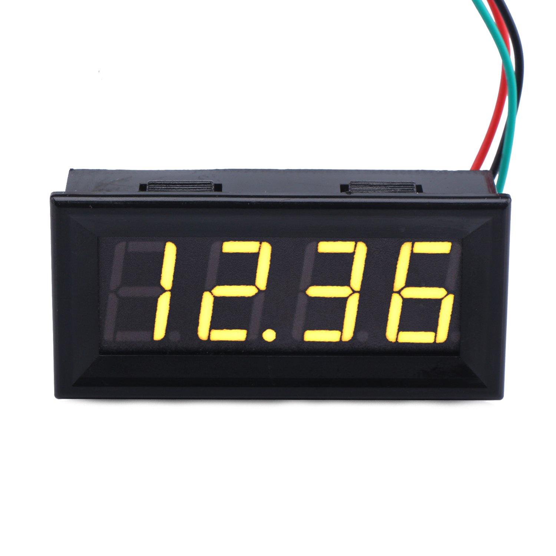 DROK 0.56' 4 Digits DC 0-33V LED Digital Voltmeter 12V/24V 3 Wires Voltage Meter Gauge Panel Volt Tester Power Monitor 100204