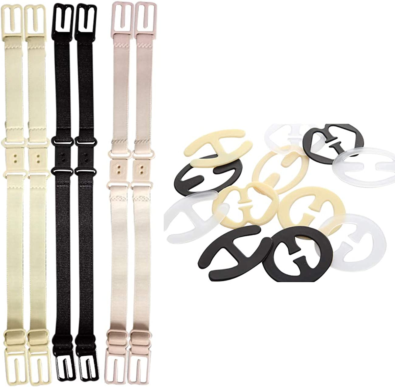 Ladies 18 PCS Conceal Non-Slip Straps Converter Adjustable Elastic Band for T Back Tank Top Zhhlaixing Bra Strap Clips /& Holders Set
