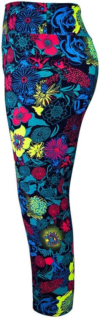 Toraway Women Print High-Waist Hip Stretch Running Fitness Yoga Pants Seven-Minute Pants