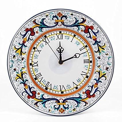 Amazon.com: Hand Painted Italian Ceramic 9.8-inch Wall Clock Ricco ...