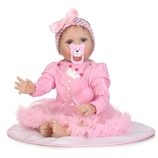 LBHE Muñeca Baby Girl Realista, 22 Pulgadas 55 cm Silicona ...