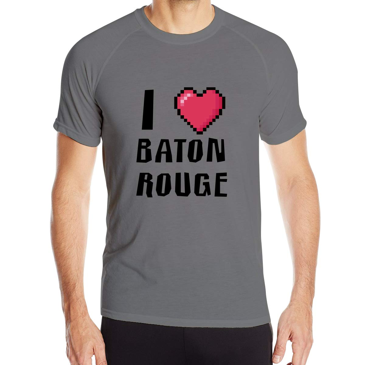 Mens I Love Baton Rouge Quick Dry Athletic Shirts Crew Tech Casual Tee