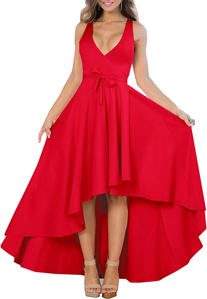 Women's Sexy V Neck Sleeveless High Low Hem Elegant Dress Cocktail Evening Party Dresses