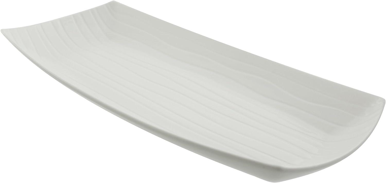 10 Strawberry Street Whittier 24 25 X 11 875 Embossed Rectangular Platter White Platters