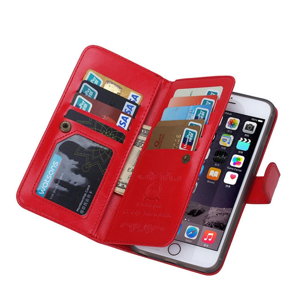 For iPhone 6S Case,GBSELL Fashion Zipper Flip Leather Wallet Case Cover Red