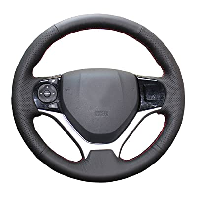 Eiseng DIY Sew Black Genuine Leather Steering Wheel Cover Stitch on Wrap for Honda Civic 2012 2013 2014 2015 interior Accessories 13.5-14.5 inches (Red thread): Automotive