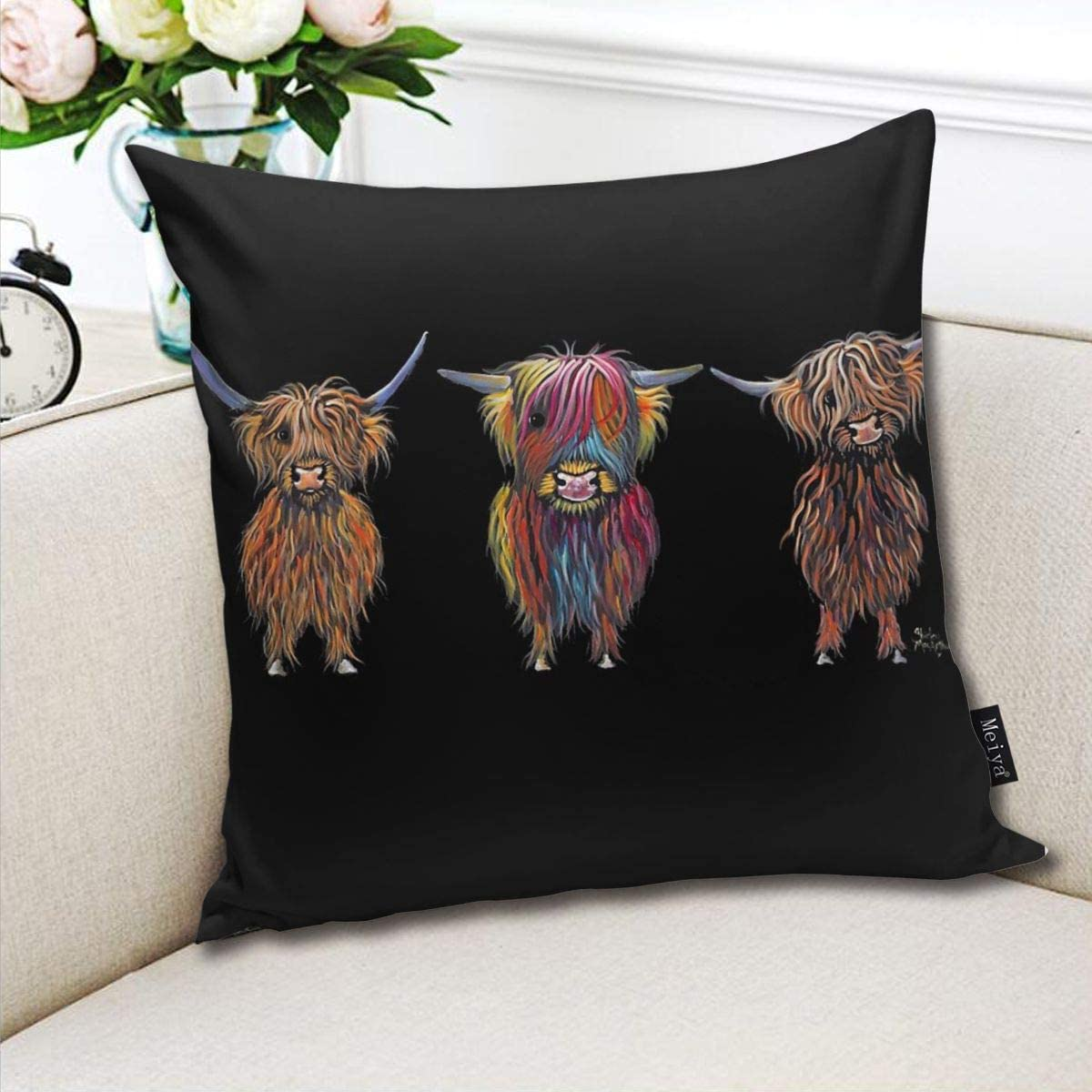 Scottish Hairy  All Three  by Shirley MacArthur Pillow Cover 18 x 18 inch Winter Holiday Farmhouse Cotton Cushion Case Decoration for Sofa Couch BLUETOP Highland Cows Print