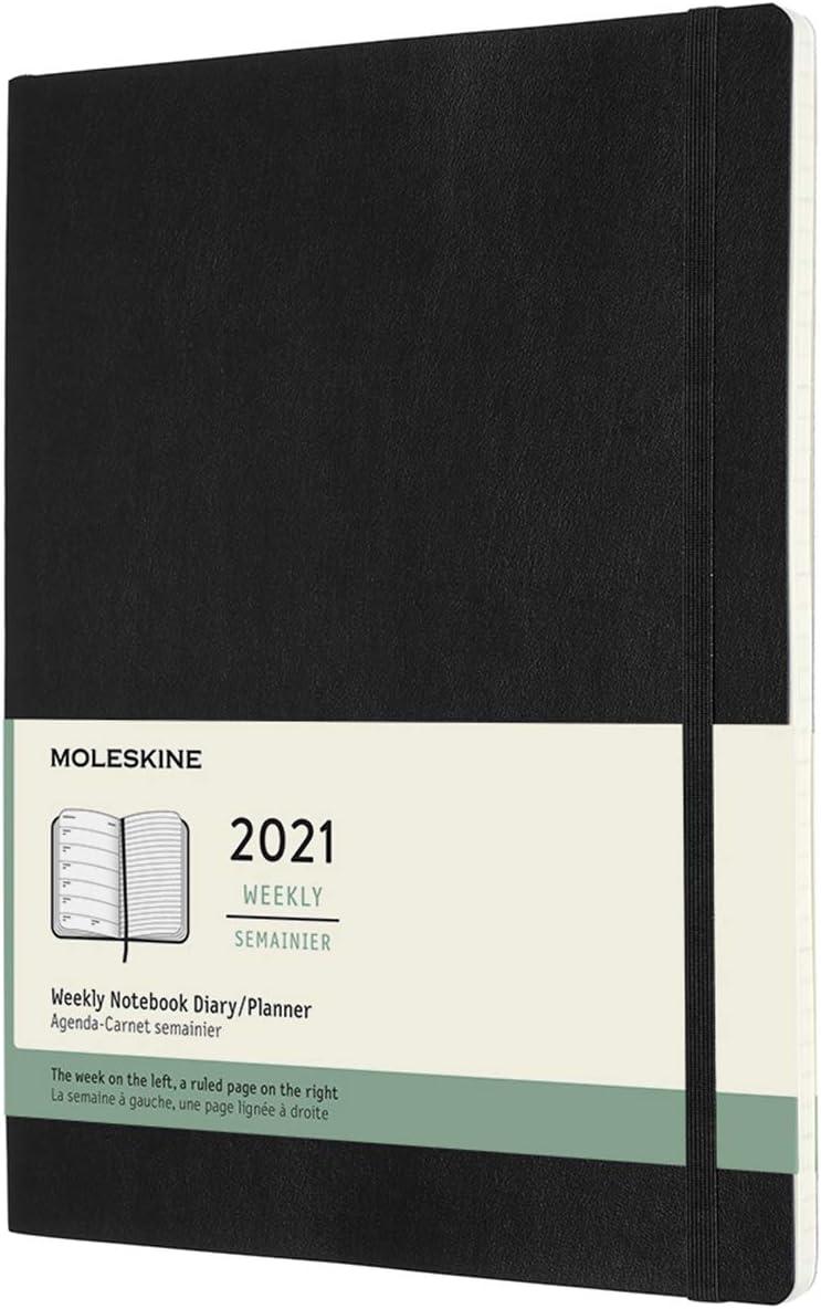 Moleskine 12 meses 2021 Weekly, tapa blanda, XL, negra