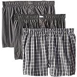 Calvin Klein Men's 3-Pack Woven Boxers, Matthew Stripe/Grey Sky/Glen Plaid, X-Large